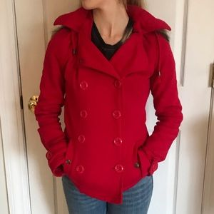 Red Wet Seal Pea Coat Size: S
